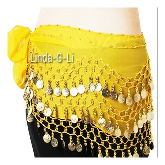 Belly Dance Hip Skirt Scarf Wrap Belt Gold Coins Dancing costume 9 Colors 5/3