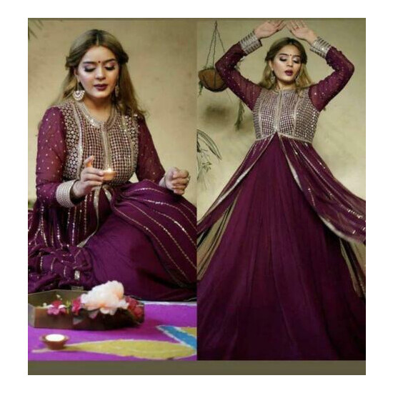 Bollywood designer heavy sequence work & pearl work Long gown pakistani work