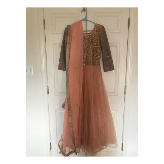 Pink Gold Gown With Dupatta