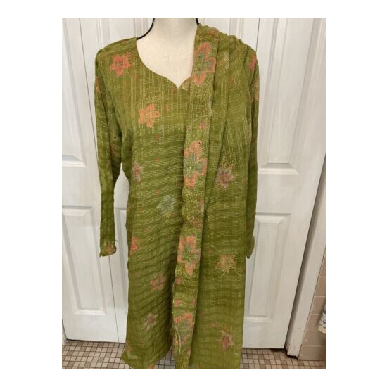 Three Piece Suit.Color Olive Green.Fabric Crinkle Chiffon.Brand New.