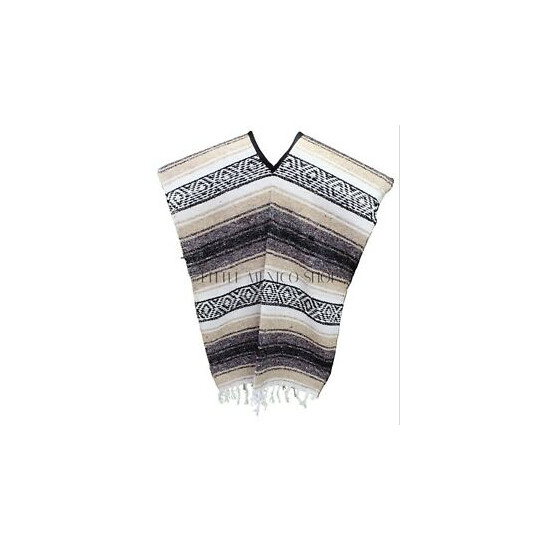 Traditional Mexican Poncho - TAN - ONE SIZE FITS ALL Blanket Serape Gaban