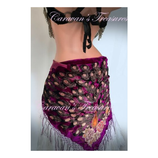 Burgundy Peacock Scarf for Belly Dance Gypsy -Free 3-Day Shipping-