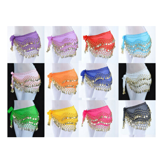 Womens Belly Dance Hip Skirt Scarf Wrap Belt Hipscarf Gold/Silver Coins US FAST