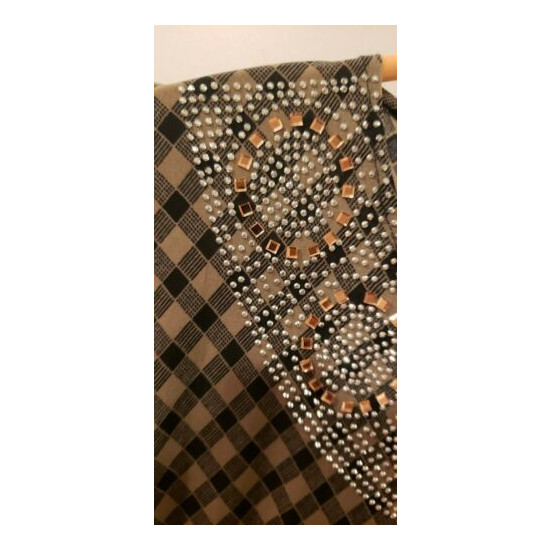 Pakistani/Indian Women's Beige and Black Jersey Abaya with Stones and Scarfs
