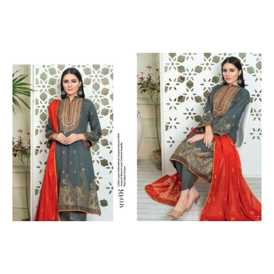 MTF EMBROIDERED COTTON LAWN JACQUARD BANARSI 3 PIECE SUIT READY TO WEAR
