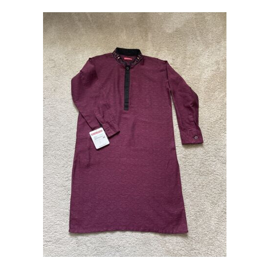 Minnie Minors Eid Embroidered Front And Back Kurta Maroon Boys Size 8-9 Y