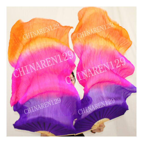 +CARRY BAG PAIRS 1.5M BELLY DANCE 100% SILK BAMBOO FAN VEILS MULTI-COLOR 5690