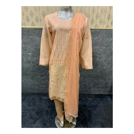 Pakistani Peach Organza Straight Shirt Suit, Fancy Threadwork and Sequins,Large