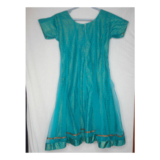 Gorgeous Beaded Teal Gold w Scarf Dress short sleeves Sz S Made in India