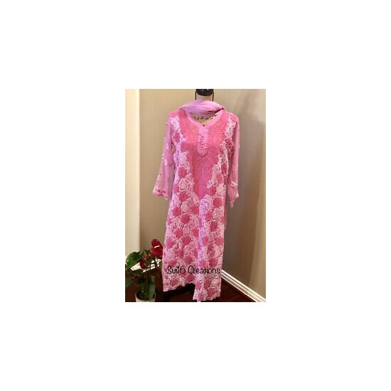 Pink Long Kurta Tunic Georgette Hand Embroidered Lucknowi S/M