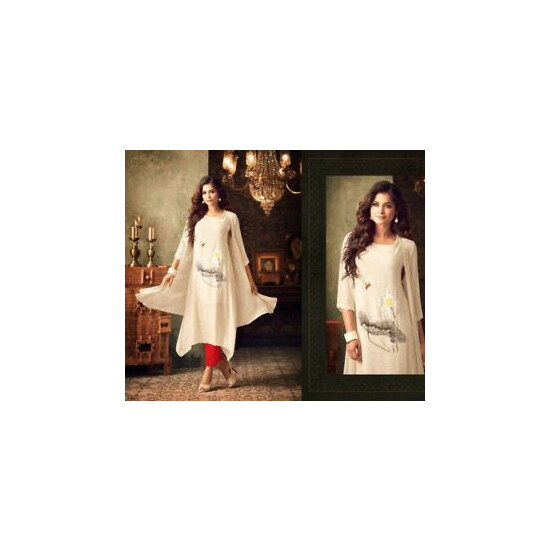 Bollywood Fashion Jacket Style Kurti (Beige and Red)