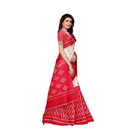 Indian Women's Khadi Silk Printed Saree With Blouse Piece Free Shipping Red Col
