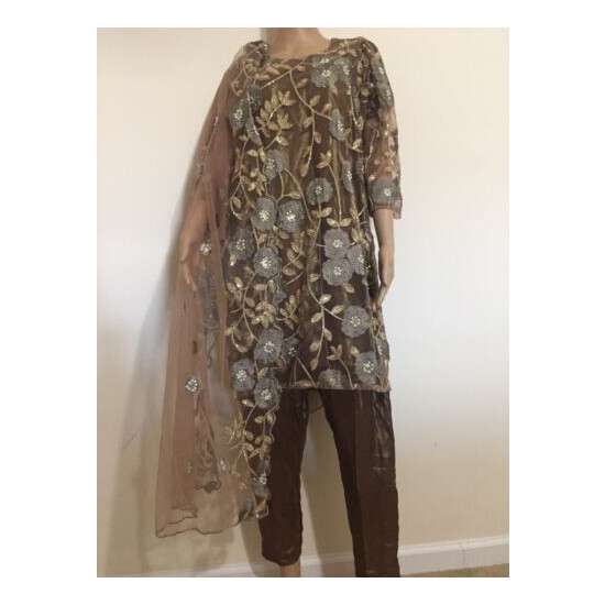 New Pakistani Net Cutwork embroidery and beads work three Piece Suit.