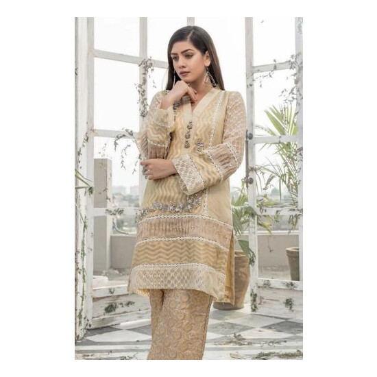 Maysuri kurta with lace and pearl detailing on border and sleeves. Paired with p