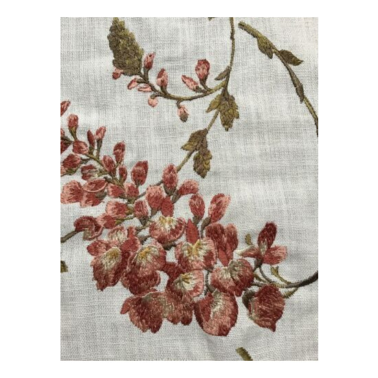 Linen Embroidered Fabric Piece Beige And Coral. 26x25 Inches.