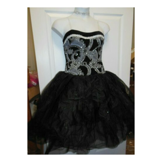 Romantic BALLET COSTUME GLITTERED Silver Black Ladies Attached tulle skirt 24