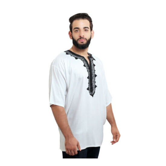 Moroccan Men Tunic Shirt Cafan Casual Handmade Embroidered Cotton Large White