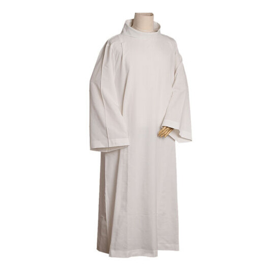 Catholic Alb Priest Mass Alb Vestments Robe Roll Collar Solid Clergy
