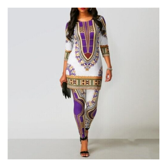 African Dress Women Top Pants Suit Dashiki Printed Clothes Robe Party Style