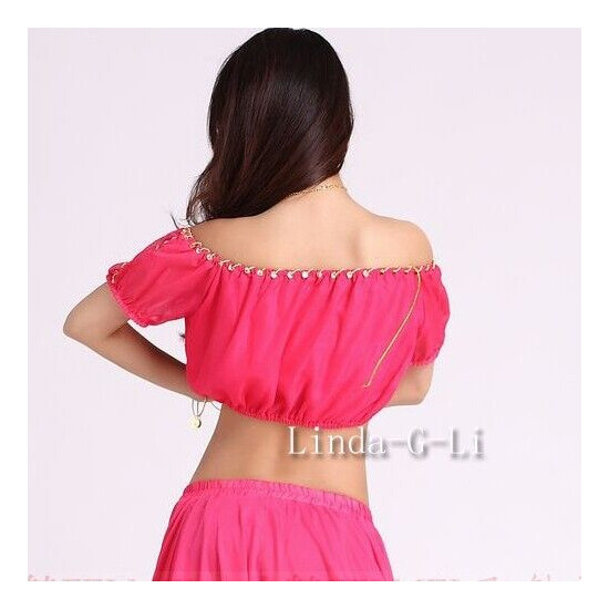 New Sexy Woman Top Belly Dance Costumes Lantern Blouse Top 9 colors 5/2