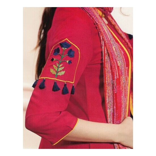 Red Rayon Salwar with Designer Dupatta. Size 44. New. Free Shipping.