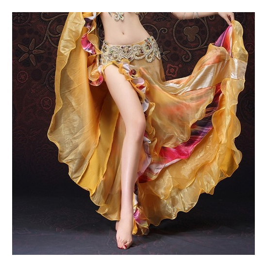 Egyptian Style Bellydance Clothing Wrapped Floral Side Slit Skirts with Ruffle