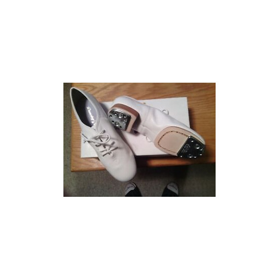 CLOGGING SHOES, NEW, ALL LEATHER, size 6-1/2 WHITE SPLIT SOLE WITH BUCK TAPS