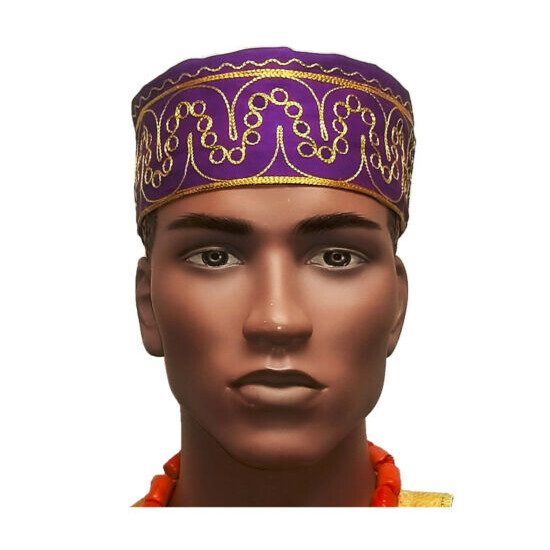 African Purple Kufi Hat with Gold Embroidery